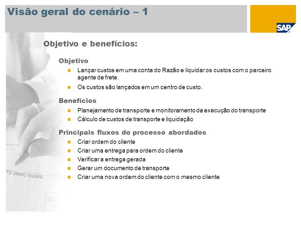 Visão geral do cenário – 1 Objetivo e benefícios: Objetivo Lançar custos em uma conta do Razão e liquidar os custos com o parceiro agente de frete. Os