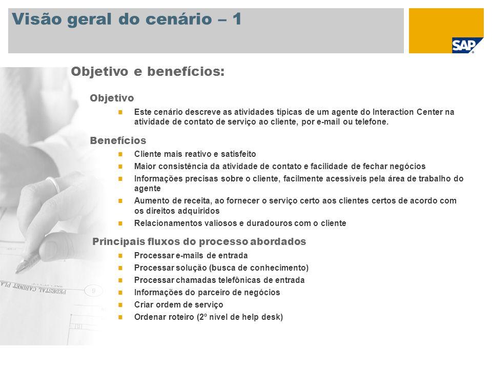 Visão geral do cenário – 1 Objetivo Este cenário descreve as atividades típicas de um agente do Interaction Center na atividade de contato de serviço ao cliente, por e-mail ou telefone.