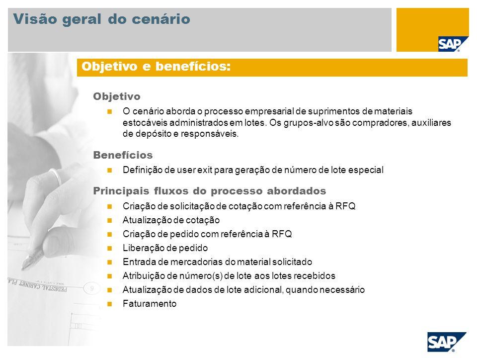 Objetivo O cenário aborda o processo empresarial de suprimentos de materiais estocáveis administrados em lotes. Os grupos-alvo são compradores, auxili