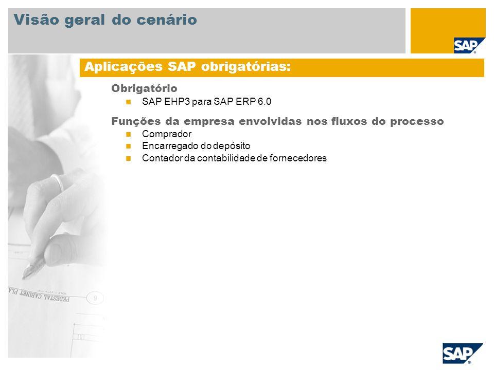 Obrigatório SAP EHP3 para SAP ERP 6.0 Funções da empresa envolvidas nos fluxos do processo Comprador Encarregado do depósito Contador da contabilidade