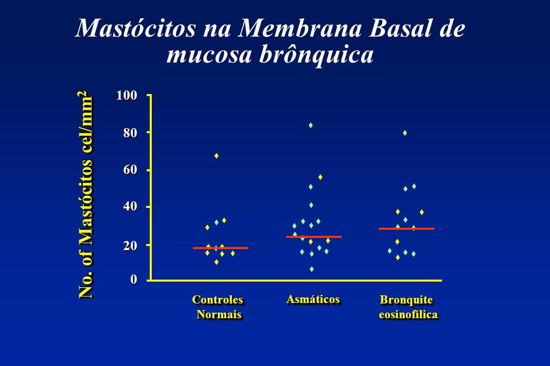100 80 60 40 20 No. of Mastócitos cel/mm 2 0 ControlesNormaisControlesNormais AsmáticosAsmáticos BronquiteeosinofílicaBronquiteeosinofílica Mastócitos