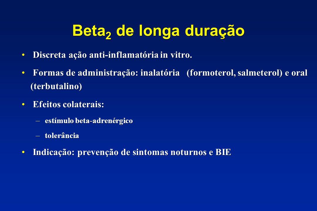 Beta 2 de longa duração Discreta ação anti-inflamatória in vitro. Formas de administração: inalatória (formoterol, salmeterol) e oral (terbutalino) Ef