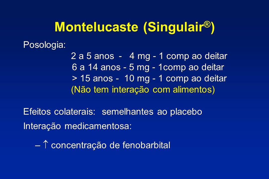 Montelucaste (Singulair ® ) Posologia: 2 a 5 anos - 4 mg - 1 comp ao deitar 6 a 14 anos - 5 mg - 1comp ao deitar > 15 anos - 10 mg - 1 comp ao deitar