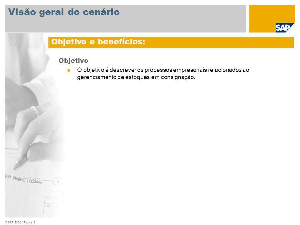 © SAP 2008 / Página 2 Objetivo O objetivo é descrever os processos empresariais relacionados ao gerenciamento de estoques em consignação. Objetivo e b