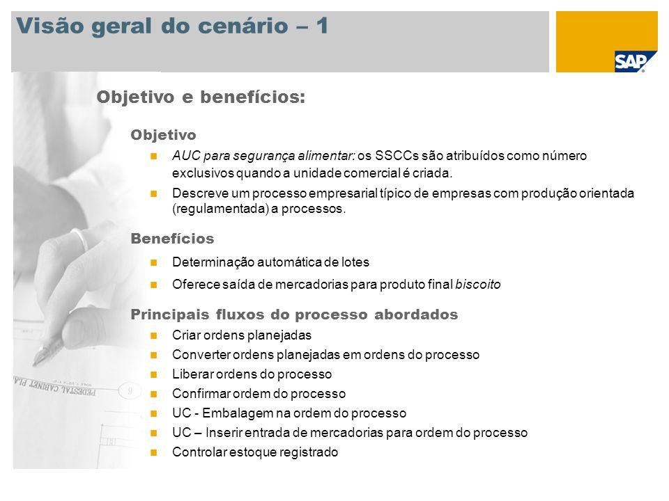 Visão geral do cenário – 2 Principais fluxos do processo abordados Exibir ordem do processo Criar ordens do cliente Criar remessas Criar faturamento