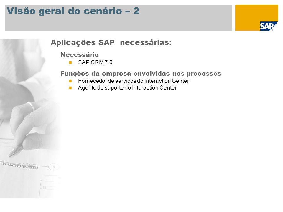 Visão geral do cenário – 2 Necessário SAP CRM 7.0 Funções da empresa envolvidas nos processos Fornecedor de serviços do Interaction Center Agente de s