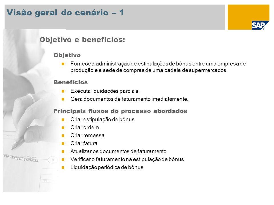 Visão geral do cenário – 1 Objetivo Fornece a administração de estipulações de bônus entre uma empresa de produção e a sede de compras de uma cadeia d
