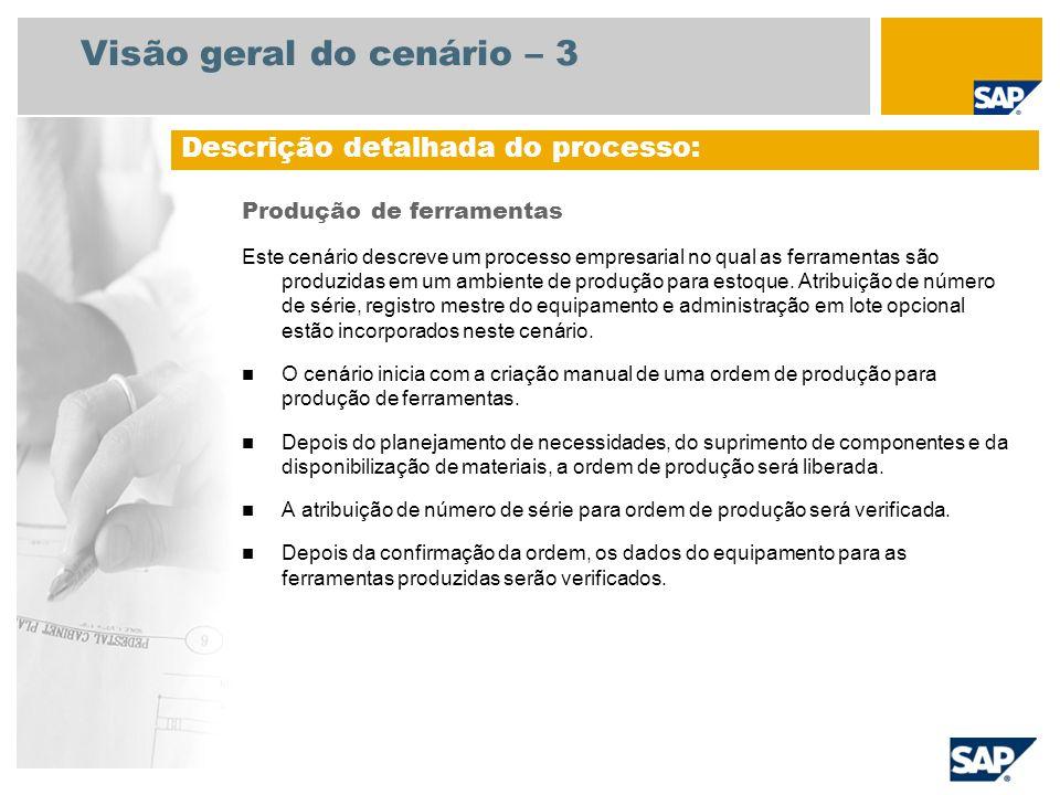 Visão geral do cenário – 3 Produção de ferramentas Este cenário descreve um processo empresarial no qual as ferramentas são produzidas em um ambiente