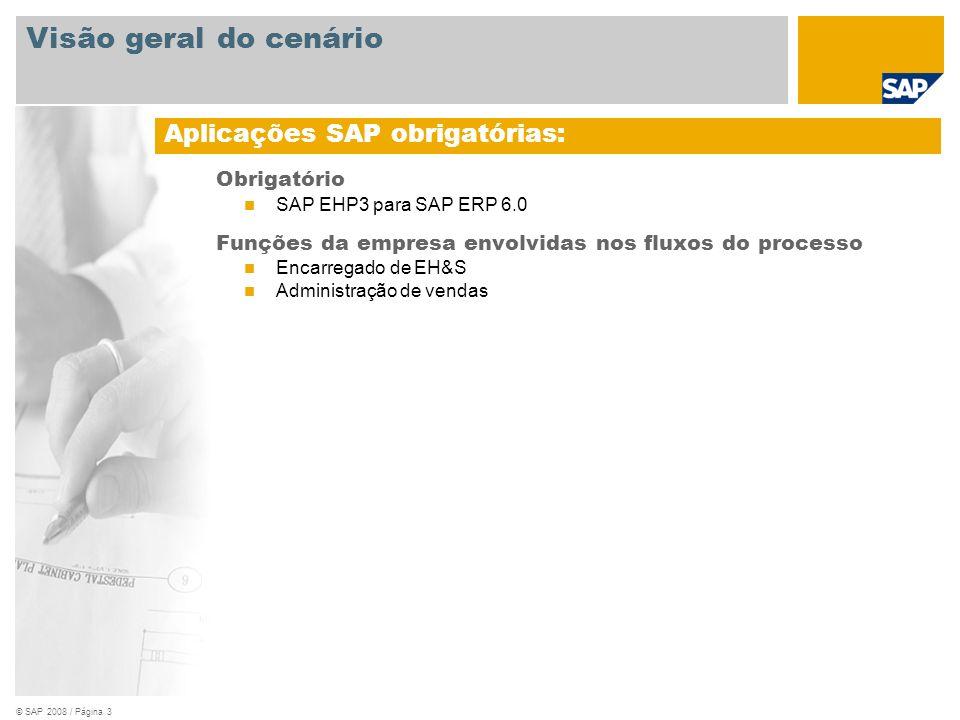 © SAP 2008 / Página 3 Obrigatório SAP EHP3 para SAP ERP 6.0 Funções da empresa envolvidas nos fluxos do processo Encarregado de EH&S Administração de