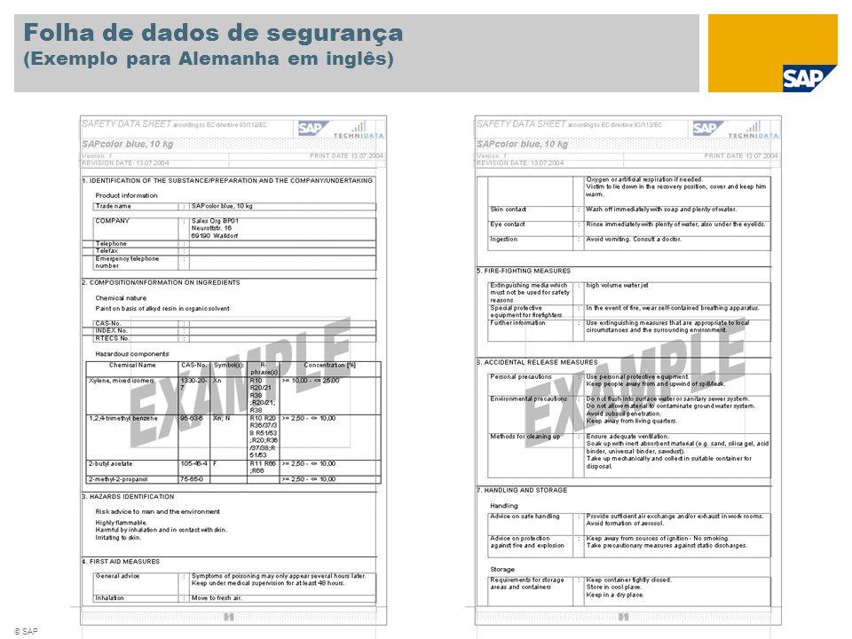 © SAP 2008 / Página 6 Folha de dados de segurança (Exemplo para Alemanha em inglês)