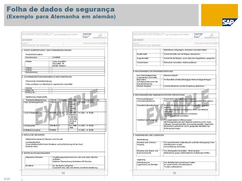 © SAP 2008 / Página 7 Folha de dados de segurança (Exemplo para Alemanha em alemão)