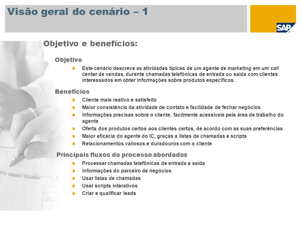 Visão geral do cenário – 2 Necessário SAP CRM 7.0 Funções da empresa envolvidas nos processos Agente de marketing do Interaction Center Gerente do Interaction Center Aplicações SAP necessárias: