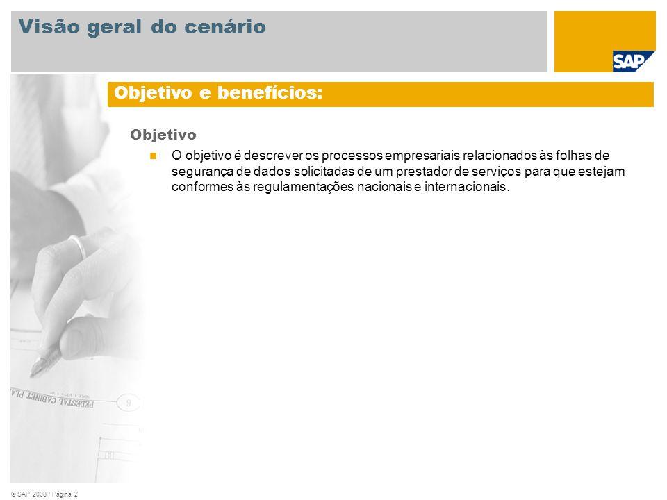 © SAP 2008 / Página 2 Objetivo O objetivo é descrever os processos empresariais relacionados às folhas de segurança de dados solicitadas de um prestad