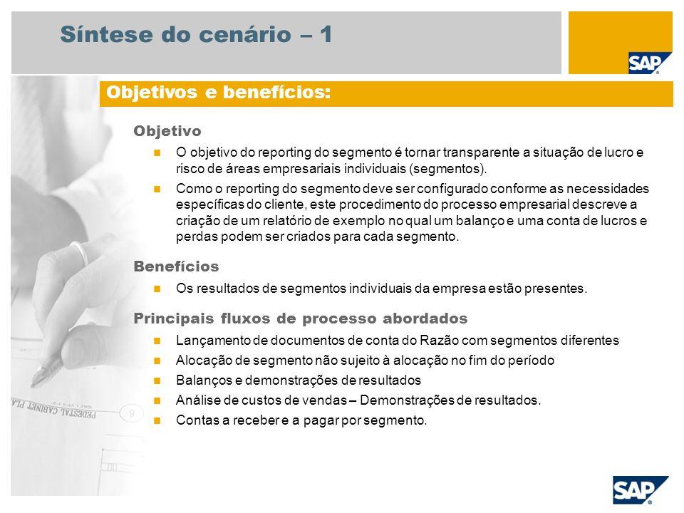 Síntese do cenário – 1 Objetivo O objetivo do reporting do segmento é tornar transparente a situação de lucro e risco de áreas empresariais individuai