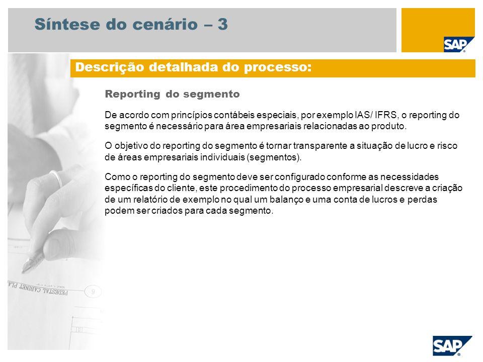Síntese do cenário – 3 Reporting do segmento De acordo com princípios contábeis especiais, por exemplo IAS/ IFRS, o reporting do segmento é necessário
