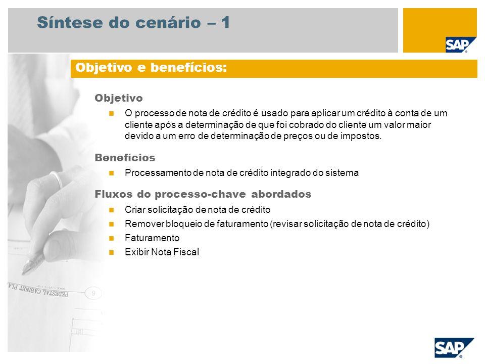 Síntese do cenário – 2 Obrigatório SAP enhancement package 4 for SAP ERP 6.0 Funções da empresa envolvidas nos fluxos do processo Serviço ao cliente Encarregado de faturamento Gerente de contas a receber Aplicações SAP necessárias:
