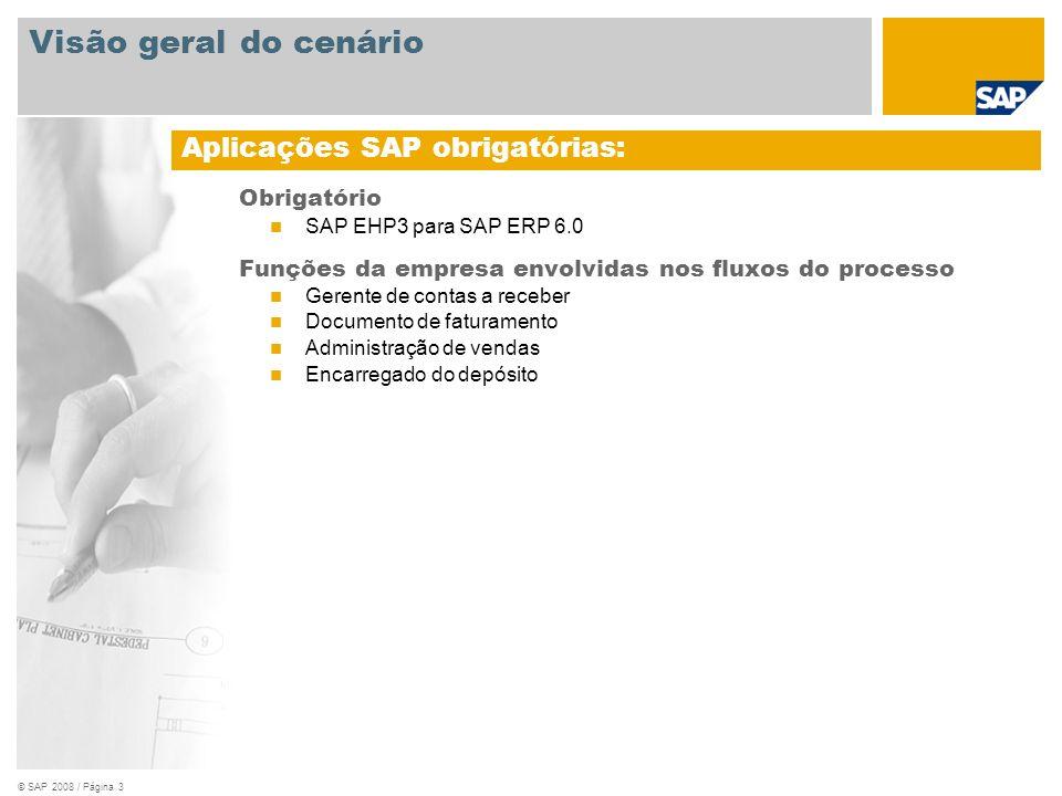 © SAP 2008 / Página 3 Obrigatório SAP EHP3 para SAP ERP 6.0 Funções da empresa envolvidas nos fluxos do processo Gerente de contas a receber Documento