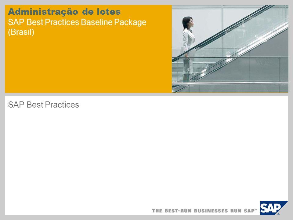 Administração de lotes SAP Best Practices Baseline Package (Brasil) SAP Best Practices