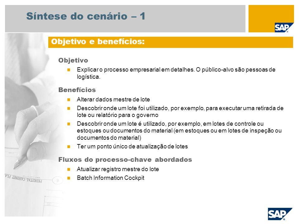 Síntese do cenário – 1 Objetivo Explicar o processo empresarial em detalhes. O público-alvo são pessoas de logística. Benefícios Alterar dados mestre