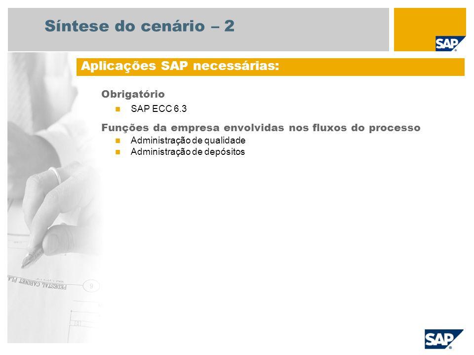 Obrigatório SAP ECC 6.3 Funções da empresa envolvidas nos fluxos do processo Administração de qualidade Administração de depósitos Aplicações SAP nece