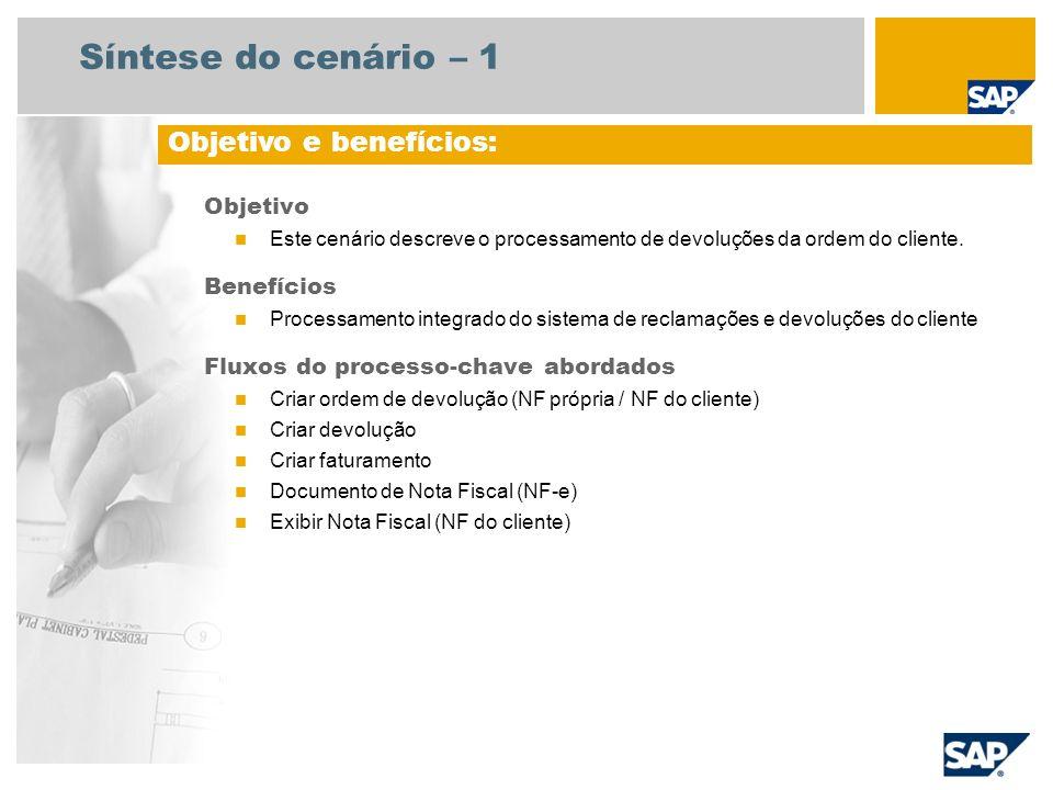 Síntese do cenário – 1 Objetivo Este cenário descreve o processamento de devoluções da ordem do cliente. Benefícios Processamento integrado do sistema