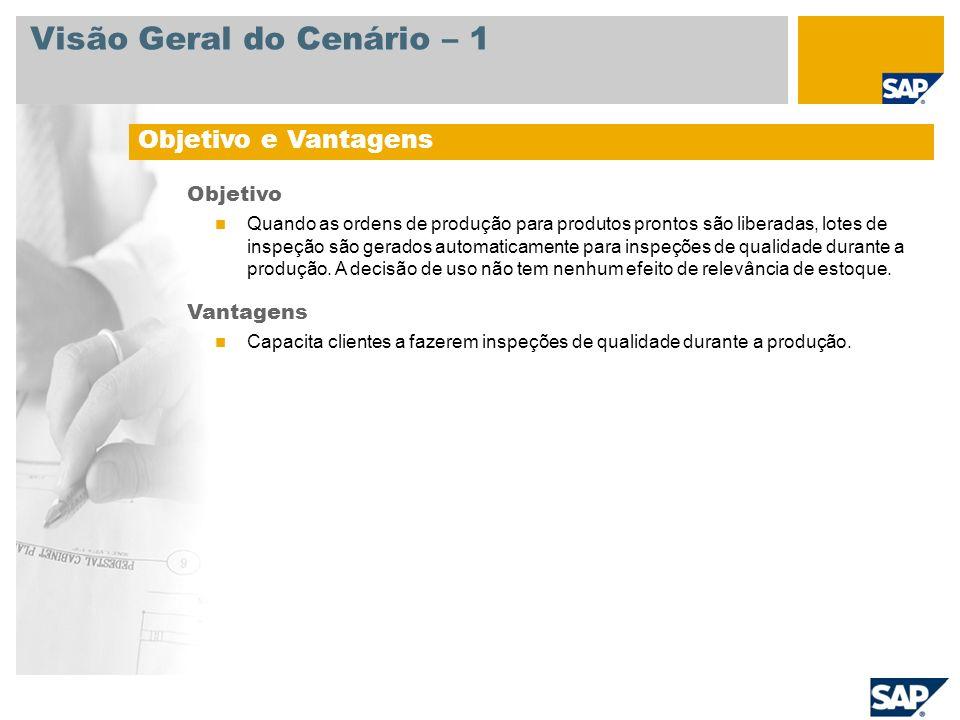 Visão Geral do Cenário – 1 Objetivo e Vantagens Objetivo Quando as ordens de produção para produtos prontos são liberadas, lotes de inspeção são gerad