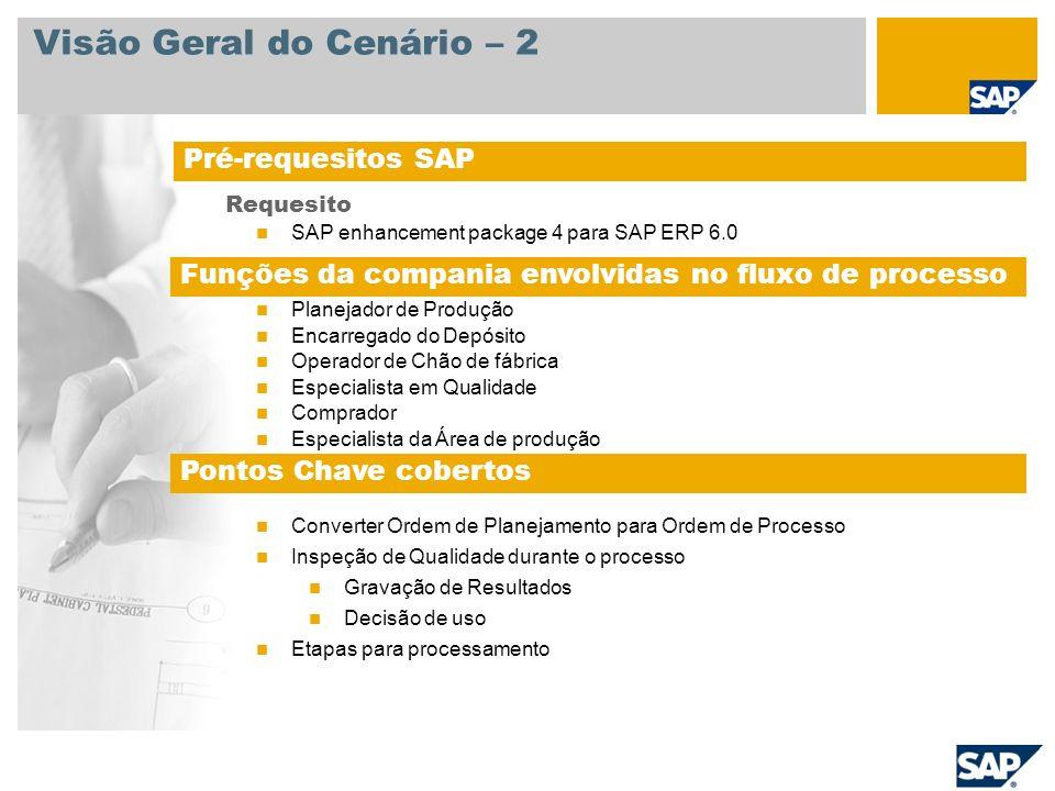 Visão Geral do Cenário – 2 Requesito SAP enhancement package 4 para SAP ERP 6.0 Planejador de Produção Encarregado do Depósito Operador de Chão de fáb
