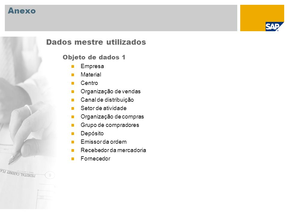 Anexo Objeto de dados 1 Empresa Material Centro Organização de vendas Canal de distribuição Setor de atividade Organização de compras Grupo de comprad