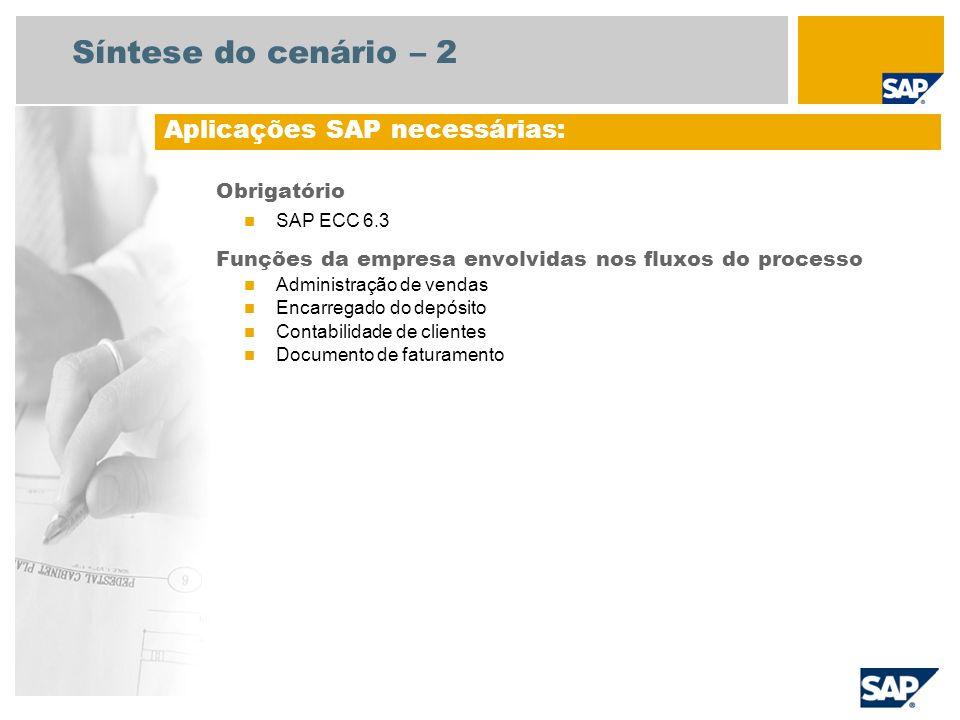 Síntese do cenário – 2 Obrigatório SAP ECC 6.3 Funções da empresa envolvidas nos fluxos do processo Administração de vendas Encarregado do depósito Co