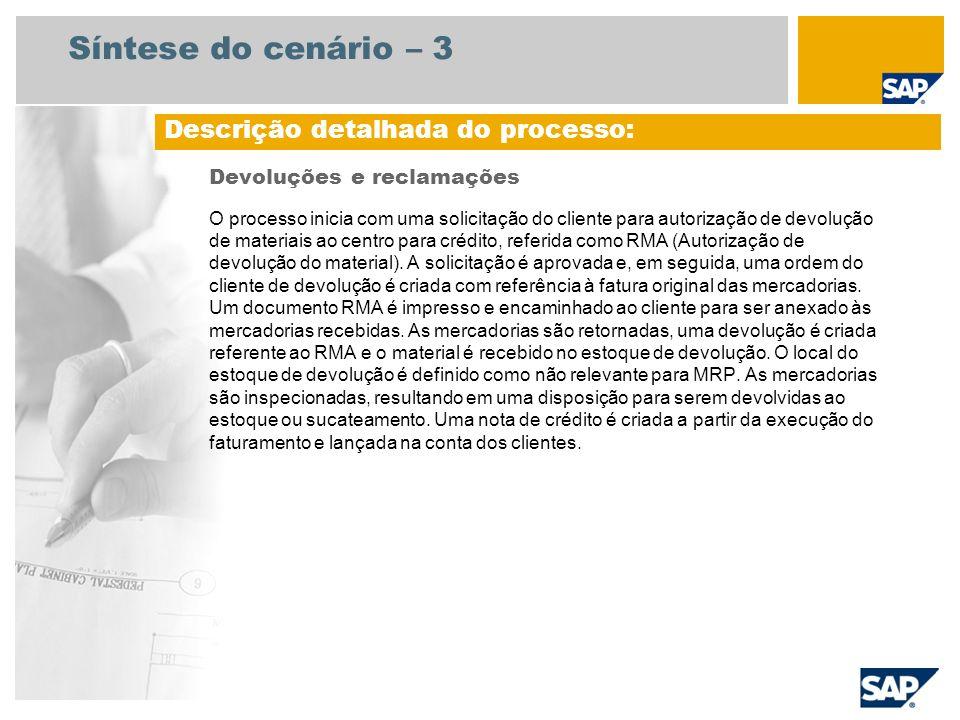 Administra- ção de vendas Encarregado do depósito Diagrama do fluxo do processo Devoluções e reclamações Evento Contabilidade de clientes Produto RMA chega ao hangar CPV estoque CPV = Custo do produto vendido, RMA = Autorização de devolução do material, EM = Entrada de mercadorias, QA = Garantia de qualidade Necessidades do cliente de devolver produto Confirmação da devolução Criar ordem de devolução Contabilidad e de clientes (157) Processamen -to ordem do cliente: venda no depósito (109) Nota Fiscal (Opcional) Devolução ao fornecedor (136) (Opcional) Bloqueio e refugo da utilização do estoque (131) (Opcional) Processament o posterior (Material fabr.- estoque)(151) Criar devolução Documento de faturamento Faturamento Entrada de pagamentos (Opcional) Preparativos para o encerrament o SD (203) Atribuir número de série Custo EM