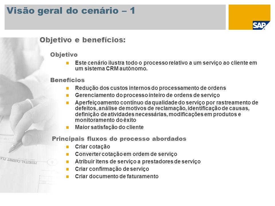 Visão geral do cenário – 2 Necessário SAP CRM 2007 Funções da empresa envolvidas nos processos Prestador de serviços Gerente de serviços Técnico do serviço Aplicações SAP necessárias: