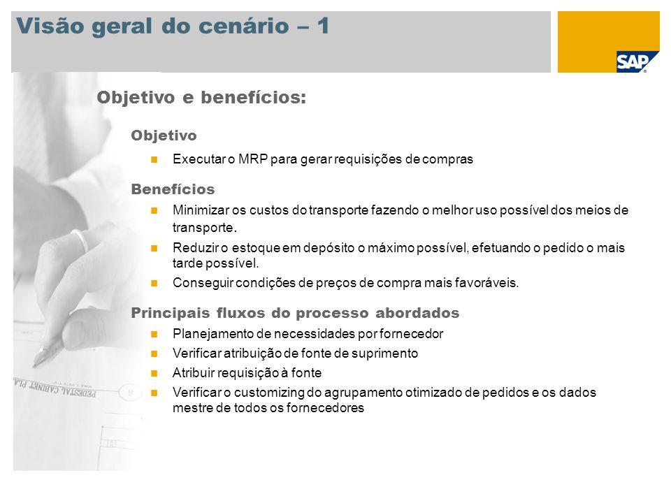 Visão geral do cenário – 1 Objetivo e benefícios: Objetivo Executar o MRP para gerar requisições de compras Benefícios Minimizar os custos do transpor