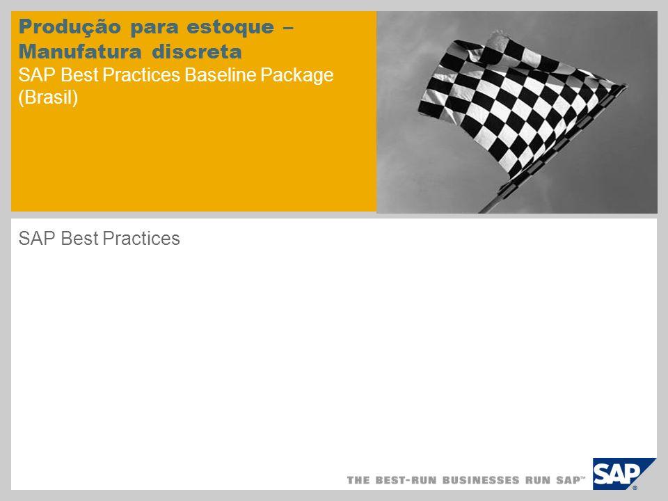 Produção para estoque – Manufatura discreta SAP Best Practices Baseline Package (Brasil) SAP Best Practices