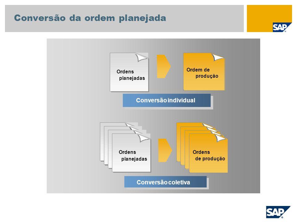 Conversão individual Ordens planejadas Ordens de produção Conversão coletiva Conversão da ordem planejada Ordem de produção Ordens planejadas