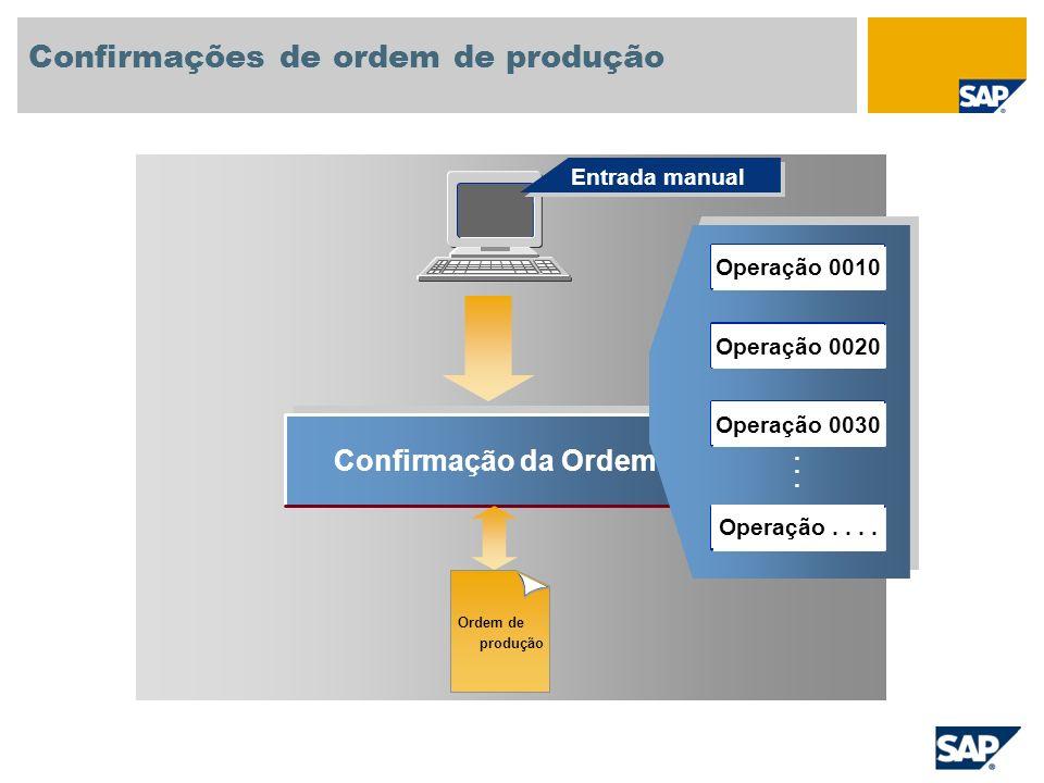 Confirmação da Ordem...... Entrada manual Confirmações de ordem de produção Ordem de produção Operação 0010 Operação 0020 Operação 0030 Operação....