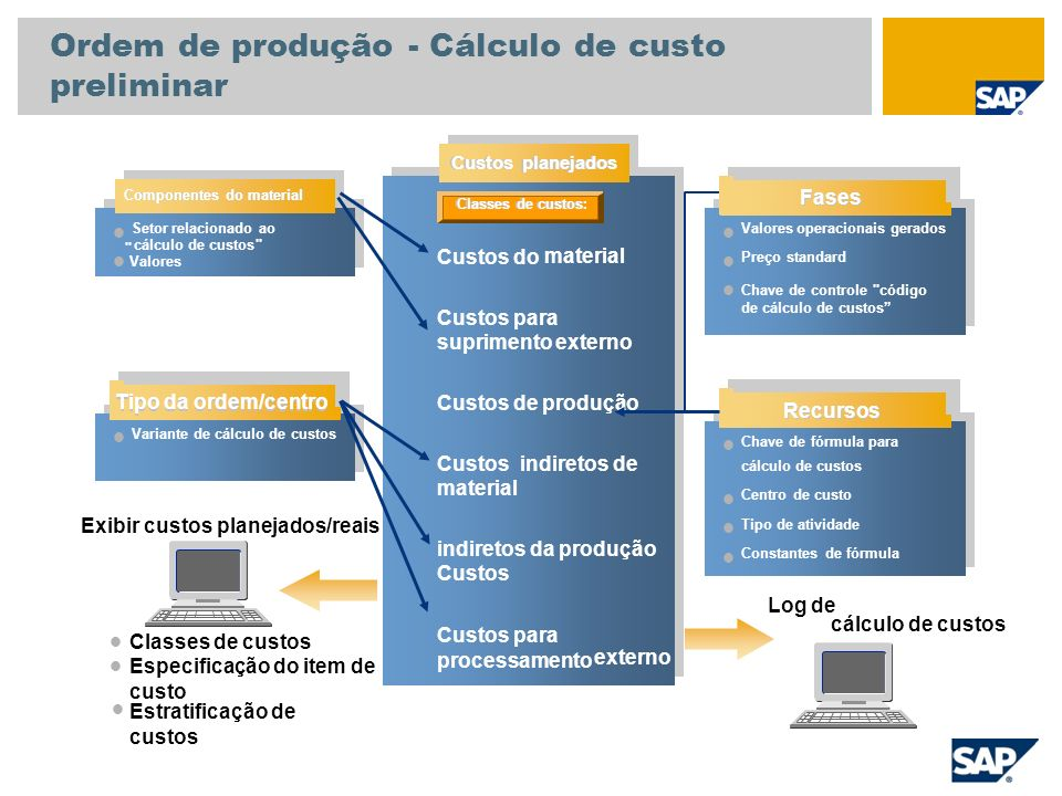 Variante de cálculo de custos Exibir custos planejados/reais Classes de custos Especificação do item de custo Estratificação de custos Custos planejad