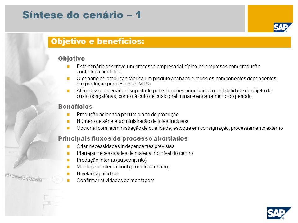 Síntese do cenário – 1 Objetivo Este cenário descreve um processo empresarial, típico de empresas com produção controlada por lotes. O cenário de prod