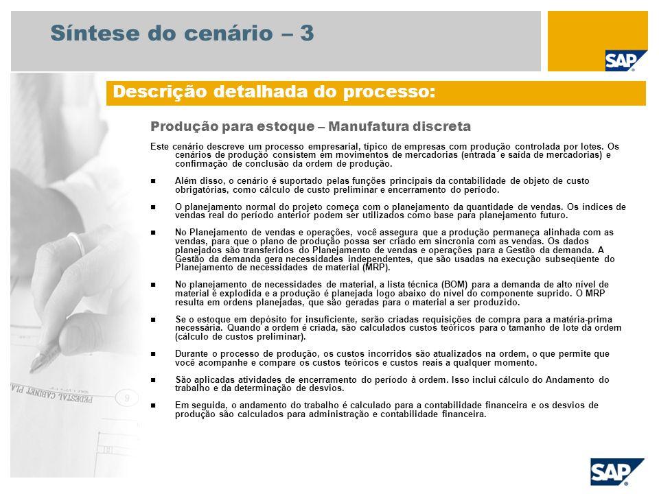 Síntese do cenário – 3 Produção para estoque – Manufatura discreta Este cenário descreve um processo empresarial, típico de empresas com produção cont