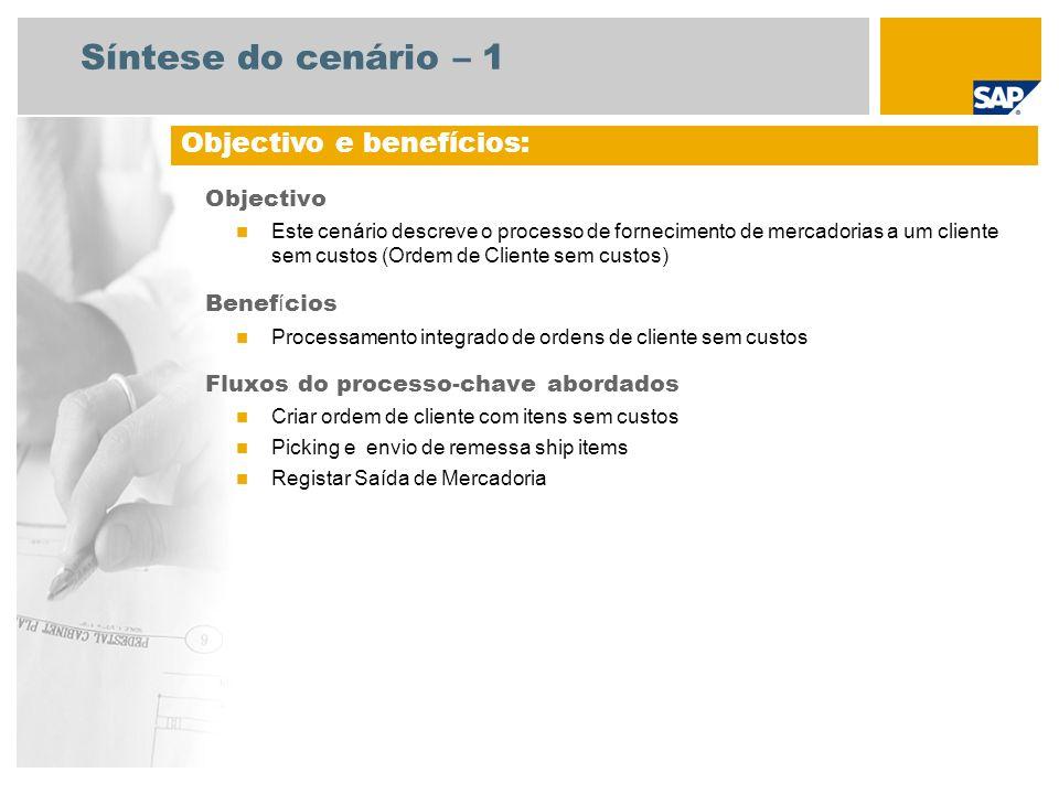 Síntese do cenário – 1 Objectivo Este cenário descreve o processo de fornecimento de mercadorias a um cliente sem custos (Ordem de Cliente sem custos)