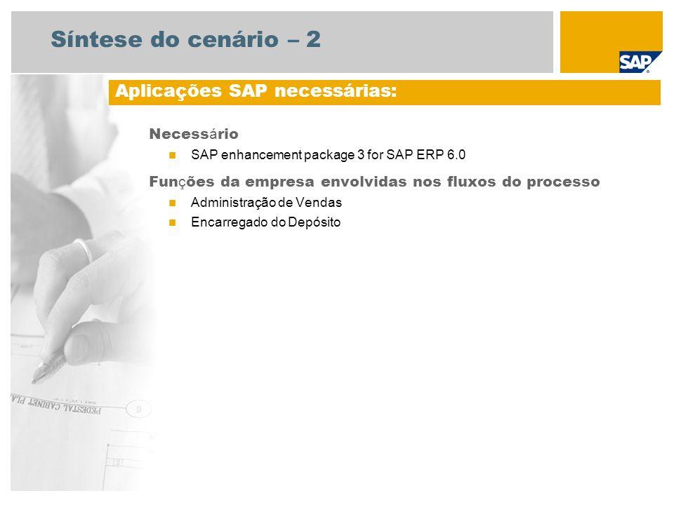 Síntese do cenário – 2 Necess á rio SAP enhancement package 3 for SAP ERP 6.0 Fun ç ões da empresa envolvidas nos fluxos do processo Administração de