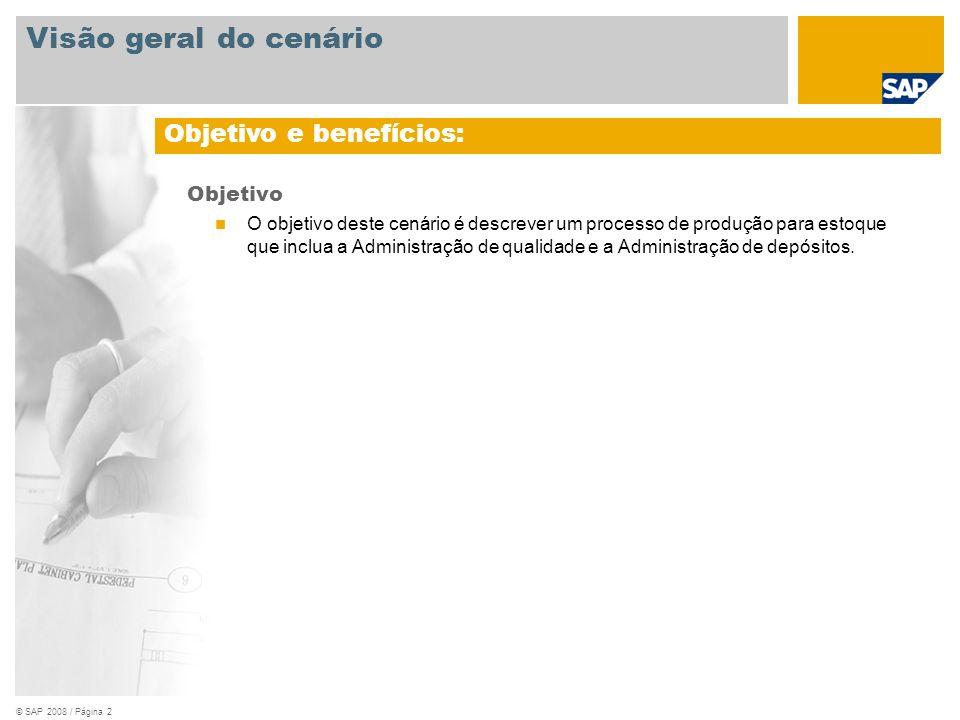 © SAP 2008 / Página 2 Objetivo O objetivo deste cenário é descrever um processo de produção para estoque que inclua a Administração de qualidade e a A