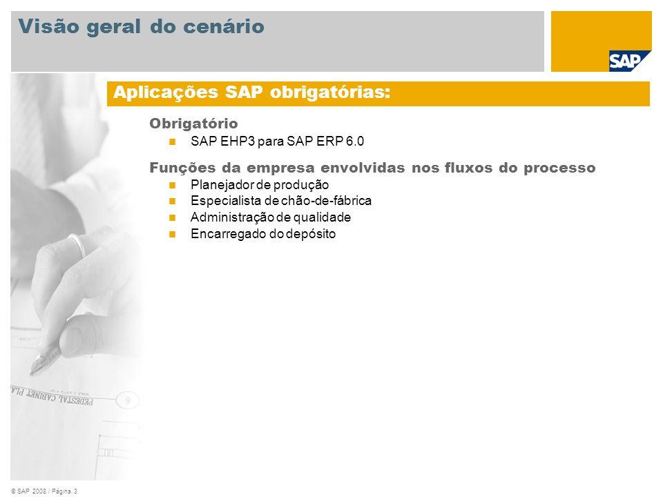 © SAP 2008 / Página 3 Obrigatório SAP EHP3 para SAP ERP 6.0 Funções da empresa envolvidas nos fluxos do processo Planejador de produção Especialista d