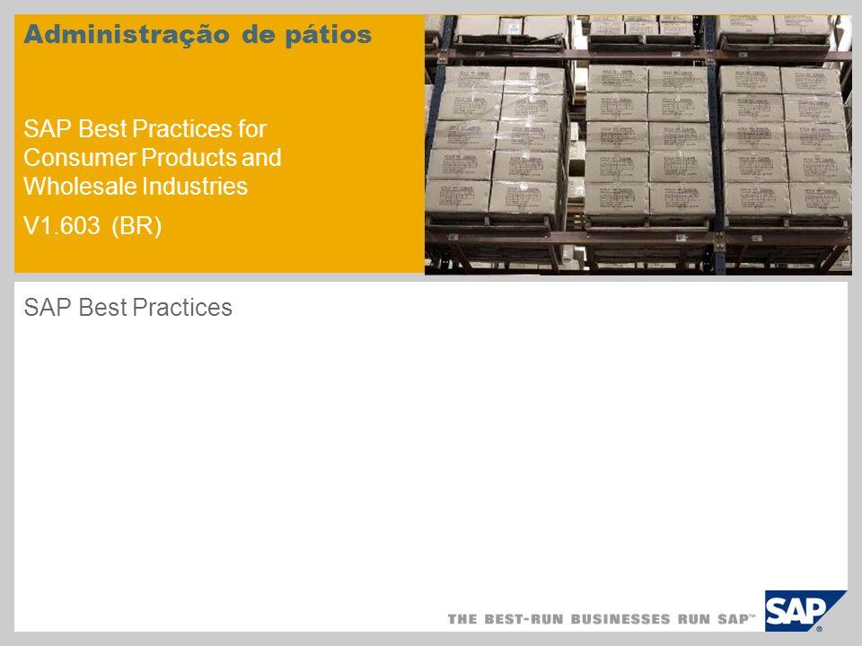 Administração de pátios SAP Best Practices for Consumer Products and Wholesale Industries V1.603 (BR) SAP Best Practices