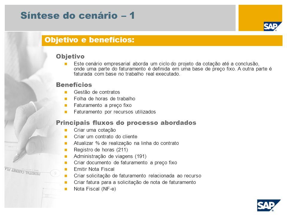 Síntese do cenário – 1 Objetivo Este cenário empresarial aborda um ciclo do projeto da cotação até a conclusão, onde uma parte do faturamento é defini