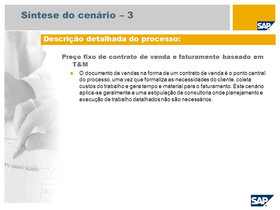 Síntese do cenário – 3 Preço fixo de contrato de venda e faturamento baseado em T&M O documento de vendas na forma de um contrato de venda é o ponto c