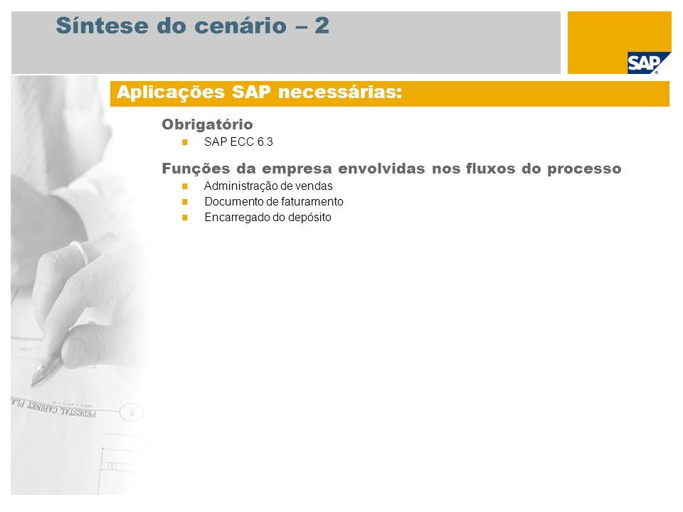 Síntese do cenário – 2 Obrigatório SAP ECC 6.3 Funções da empresa envolvidas nos fluxos do processo Administração de vendas Documento de faturamento E