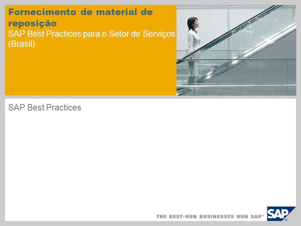 Visão geral do cenário – 1 Objetivo Este cenário trata do fornecimento de material de reposição.