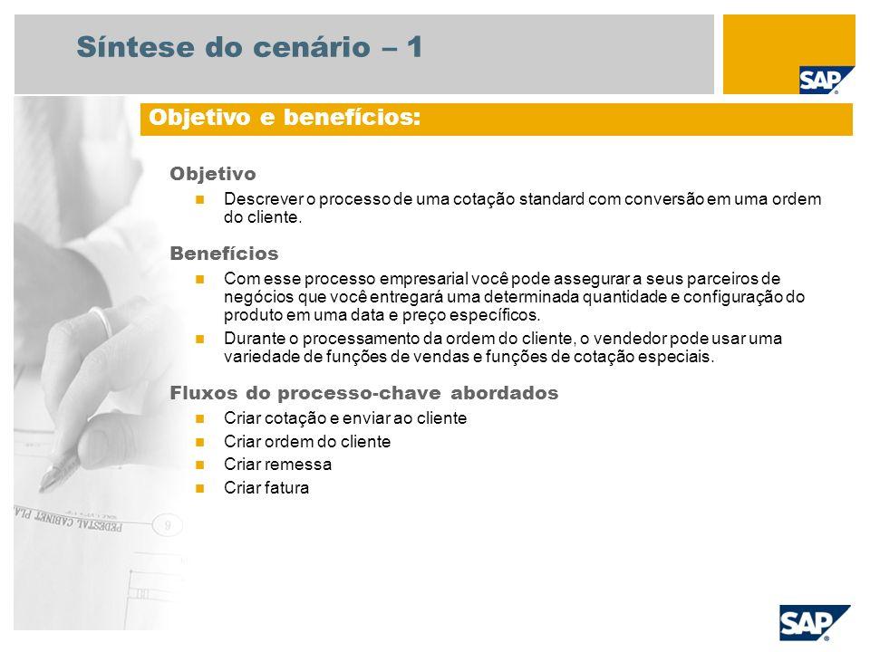 Síntese do cenário – 1 Objetivo Descrever o processo de uma cotação standard com conversão em uma ordem do cliente. Benefícios Com esse processo empre
