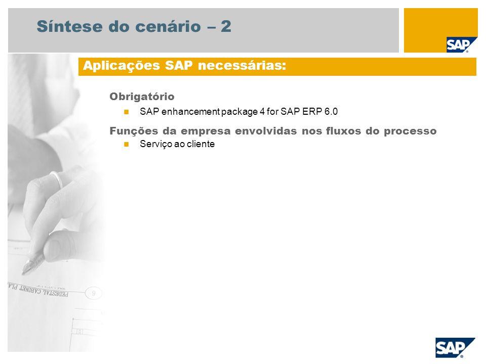 Síntese do cenário – 2 Obrigatório SAP enhancement package 4 for SAP ERP 6.0 Funções da empresa envolvidas nos fluxos do processo Serviço ao cliente A