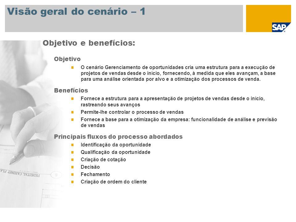 Visão geral do cenário – 1 Objetivo O cenário Gerenciamento de oportunidades cria uma estrutura para a execução de projetos de vendas desde o início,